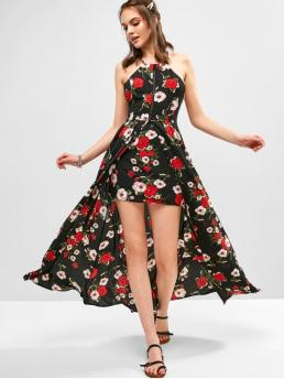 No Summer Nonelastic Floral Criss-Cross and Slit Sleeveless Spaghetti Ankle-Length A-Line Beach and Vacation Fashion Slit Criss Cross Floral Maxi Dress