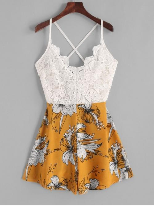 Summer No Criss-Cross and Lace Floral Sleeveless Spaghetti Loose Casual Casual and Going Lace Panel Criss Cross Floral Cami Romper