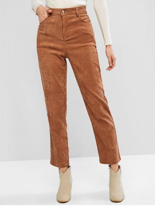 Fall Zipper Straight Solid Pockets Regular High Casual Solid Color Corduroy Pants with Pockets
