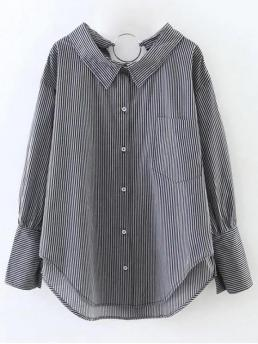Fall and Spring Striped Shirt Full Long Fashion Striped Oversized High-Low Shirt