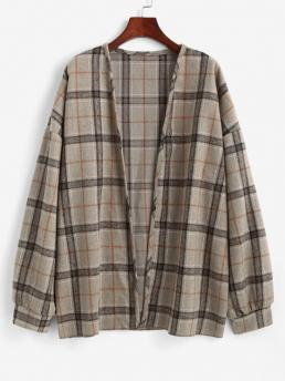 Full Sleeve Wide-waisted Polyester Plaid Open Front Ladies