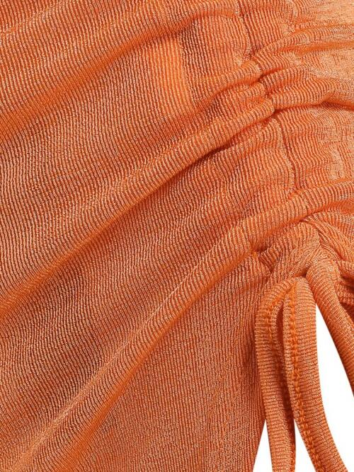 Pretty Orange Solid Maxi Sexy Cinched Front Jersey Slinky Skirt