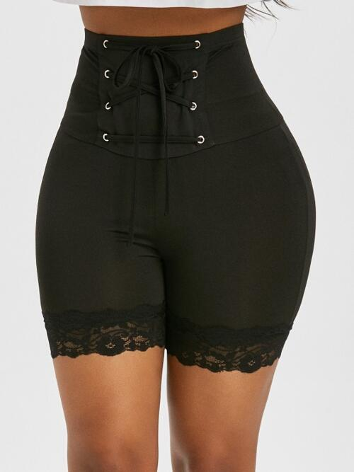 Black Solid Short Fashion Rise Lace up Bikers Discount