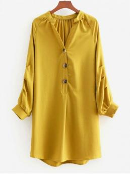 No Fall and Spring Solid Long V-Collar Mini Straight Day Brief V Neck Long Sleeve Shift Dress