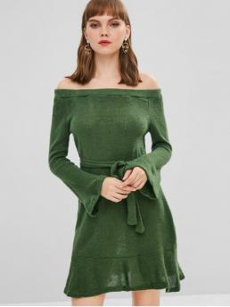 Yes Fall Solid Long Off Mini A-Line Casual  and Day Casual Belted Off Shoulder Sweater Dress