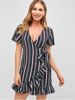No Summer Striped Flounce Short Plunging Mini Surplice A-Line Casual  and Day Fashion Flounce Striped Surplice Short Dress
