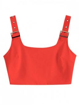 Summer Elastic Thin Solid Square Short Fashion Buckle Square Neck Crop Tank Top