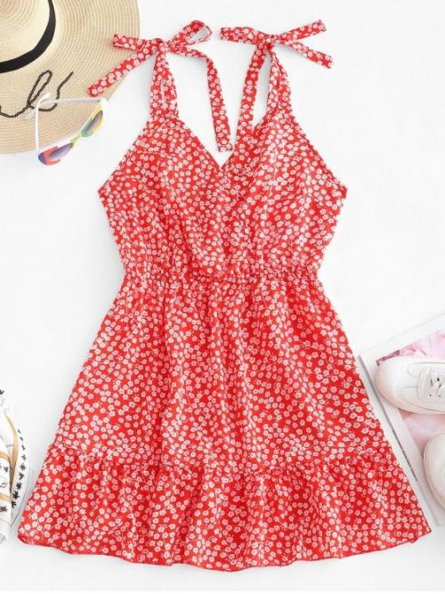 No Summer Floral Flounce Sleeveless Straps Mini A-Line Day and Vacation Bohemian Floral Tie Shoulder Flounce Mini Dress