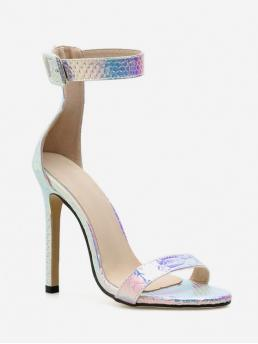 Summer PU Others Buckle Stiletto Ankle Daily Fashion For Buckle Design Laser Ankle Strap High Heel Sandals