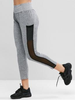 Fall 7/8 Mesh Patchwork High Daily and Sports Casual Mesh Panel Heathered High Waist Leggings
