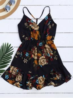 No Floral Regular Casual Spaghetti Straps Caged Floral Romper