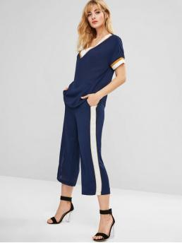 No Fall and Spring and Summer Striped Flat Elastic High Short V Loose Elegant Casual and Daily and Going Contrast Stripe Top Wide Leg Pants Co Ord Set