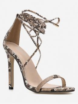 PU Rubber Animal Lace-Up Stiletto Ankle-Wrap Party Ethnic For Snake Print Ankle Wrap Sandals