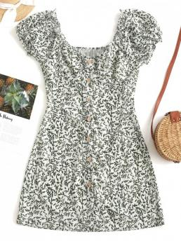 No Summer Nonelastic Leaf Button Short Scoop Mini A-Line Vacation Fashion Leaves Print Button Up Mini Dress