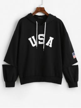 Autumn Cut American Elastic Full Regular Drop Hoodie American Flag Graphic Cut Out Hoodie