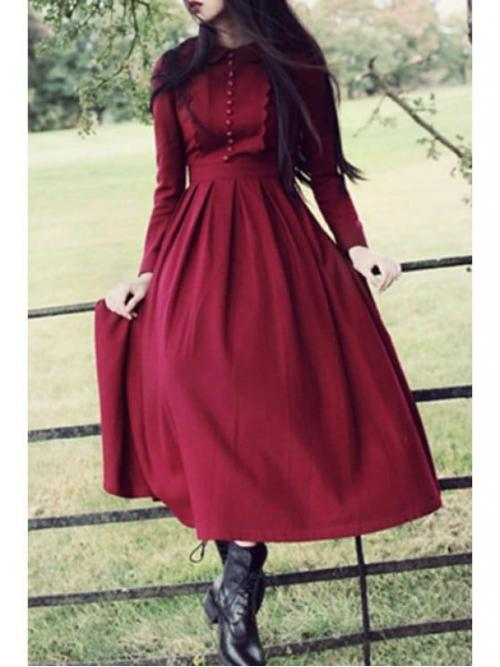 Spring and Fall No Solid Long Peter A-Line Mid-Calf Cute Peter Pan Collar Pleated Claret Dress