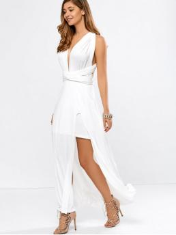 Summer No Solid Short Plunging Ankle-Length A-Line Casual Convertible High Slit White Evening Dress