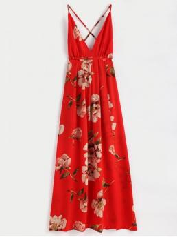 No Summer Floral Criss-Cross Sleeveless Spaghetti Ankle-Length A-Line Beach and Vacation Fashion Slit Floral Criss Cross Maxi Dress