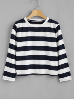 Autumn and Spring and Summer Striped Three Round Regular Casual Three Quarters Striped T-shirt