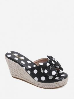 Summer PU 8CM Rubber Dot Slip-On Wedge Slides Casual and Daily Cute and Sweet For Bowknot Polka Dot Wedge Slides Sandals