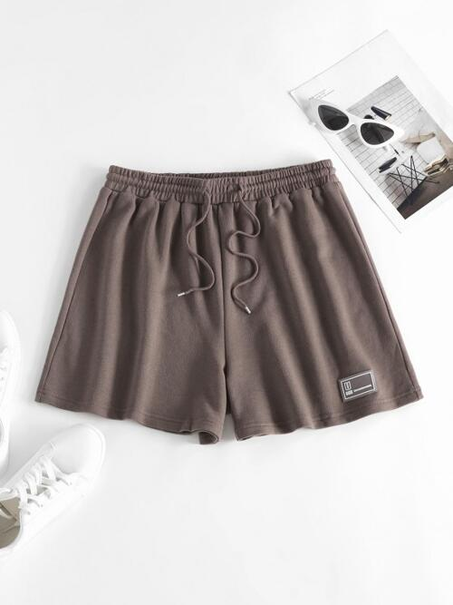 Deep Coffee Pull on Shorts,sweat Shorts Letter Regular Pull on Sweat Shorts Cheap