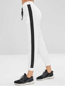 Fall and Spring Elastic Jogger Striped Regular High Active Side Stripe Lace Up Joggers Pants