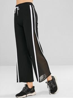 Fall and Spring No Drawstring Wide Others Regular High Casual Contrast Mesh Panel Wide Leg Pants