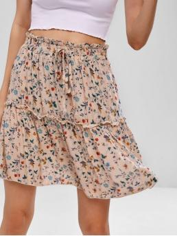 Summer Elastic Bowknot Floral A-Line Mini Daily Leisure Bowknot Embellished Floral Print Flare Skirt