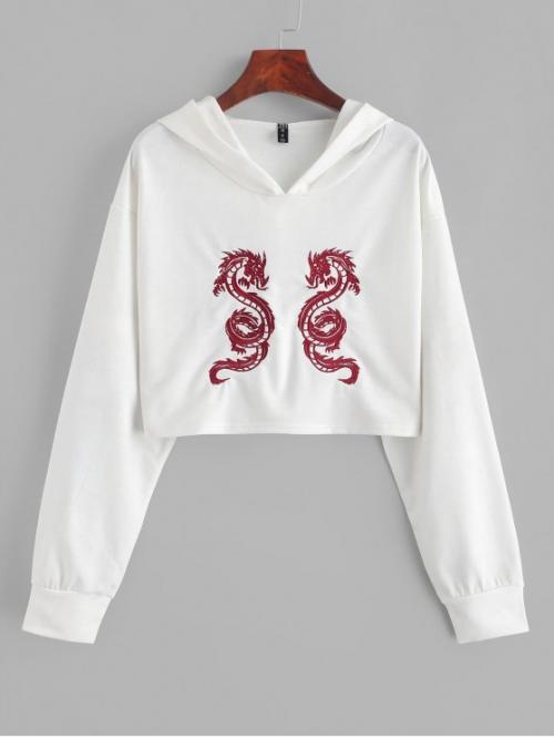 Autumn and Spring Embroidery Dragon Nonelastic Full Short Hooded Crop Cropped Dragon Embroidered Hoodie