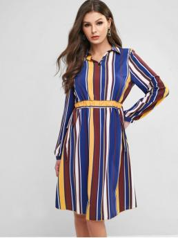 No Fall and Spring Nonelastic Striped Long Turn-down Knee-Length A-Line Work Office Drawstring Waist Long Sleeve Stripes Work Dress