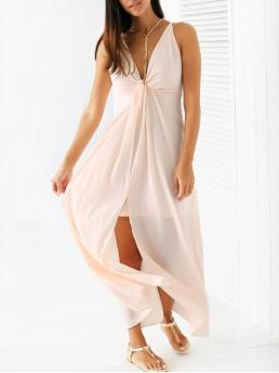 Fall and Spring and Summer No Elastic Backless Solid Sleeveless Spaghetti Floor-Length A-Line Chiffon Casual Light Pink Cami Chiffon Maxi Dress