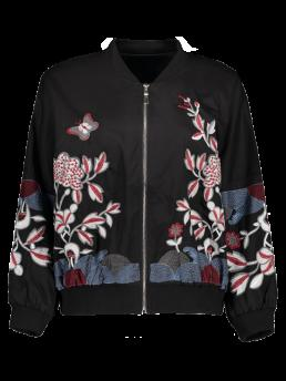 Fall and Spring and Winter Embroidery Floral Stand-Up Full Wide-waisted Jackets Fashion Puffed Sleeve Bomber Jacket