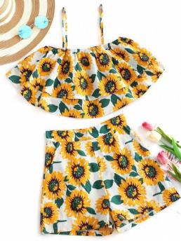 Floral Flat Zipper High Spaghetti Regular Casual and Going Sunflower Tiered Cami Top and Shorts Set
