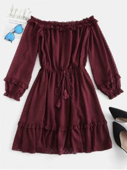 No Fall and Spring Solid Flounce Long Off Mini A-Line Casual and Day Brief Off Shoulder Frilled Sheer Mini Dress