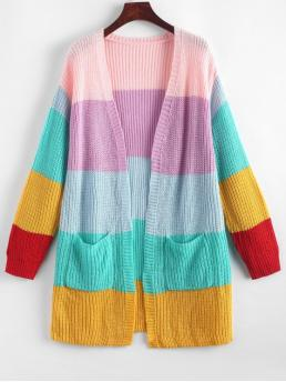 Autumn and Spring and Winter Pockets Patchwork Elastic Full Drop Collarless Long Regular Fashion Daily and Going Cardigans Open Front Dual Pocket Colorblock Cardigan