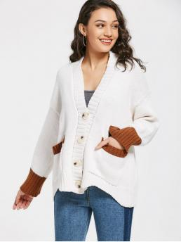 Patchwork Full V-Collar Fashion Cardigans Contrasting Button Up V Neck Cardigan