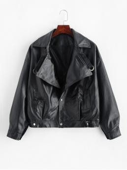 No Autumn and Spring Pockets Solid Single Lapel Drop Full Regular Wide-waisted Streetwear Leather Daily Faux Leather Drop Shoulder Snap Button Jacket