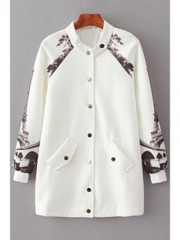 Button and Pockets Print Stand-Up Full Wide-waisted Jackets Fashion Printed Baseball Stand Collar Long Sleeves Coat