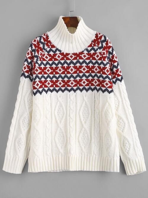 Full Sleeve Pullovers Cotton,polyester Graphic Cable Knit Turtleneck Sweater on Sale