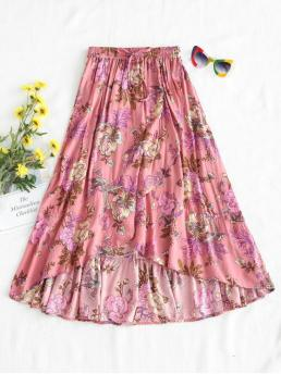 Fall and Spring Elastic Floral A-Line Mid-Calf Daily and Going Fashion Floral Full Midi Skirt