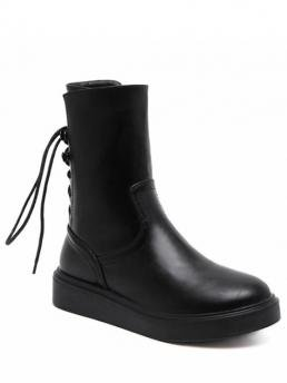 Spring/Fall and Winter PU 4CM Solid Zip Platform Round 18CM Ankle Fashion For Zip Platform Short Tie Up Boots