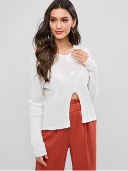 Beautiful Full Sleeve Pullovers Cotton,polyester Solid Mocks Front Notched Hem Crew Neck Sweater