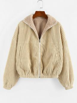 Cheap Full Sleeve Wide-waisted Polyamide,polyester Solid Reversible Corduroy Teddy Jacket