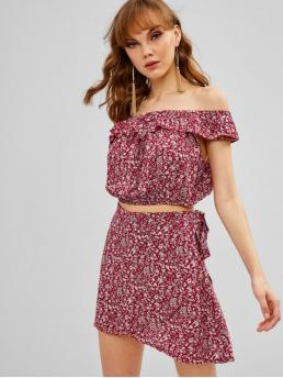 No Summer Floral Flat Tie High Short Off Regular Fashion Daily and Going Ruffles Floral Off Shoulder Top And Skirt Set