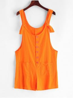 Summer No Pockets Solid Sleeveless Scoop Regular Casual Casual Scoop Neck Buttoned Pockets Solid Romper
