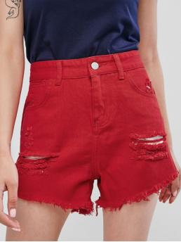 Spring and Summer Nonelastic Pockets Solid Flat Zipper Mid Regular Fashion Cuff Off Distressed Jean Shorts