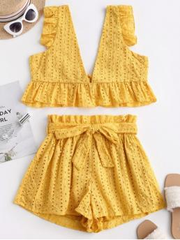 Yes Summer Belted and Ruffles Solid Flat Elastic High Sleeveless Plunging Loose Casual Casual Eyelet Plunge Belted Paperbag Shorts Set