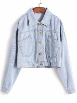 Denim Blue No Autumn and Spring Pockets Solid Single Shirt Full Regular Wide-waisted Fashion Jackets Daily and Going Drop Shoulder Crop Jean Jacket