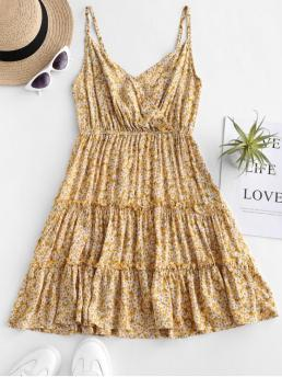 No Summer Floral Sleeveless Spaghetti Mini Surplice A-Line Casual and Vacation Casual Floral Print Surplice Cami Dress