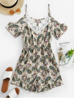 Summer No Lace Paisley Nonelastic Short Spaghetti Mini Regular Fashion Daily and Going Lace Panel Paisley Print Cold Shoulder Romper